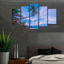 Coconut Trees 5 Piece HD Multi Panel Canvas Wall Art Frame
