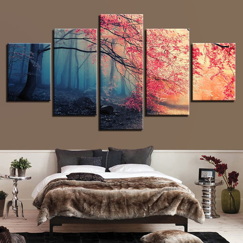 Red Maple Woods 5 Piece HD Multi Panel Canvas Wall Art Frame