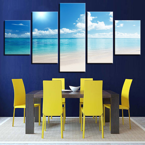 Blue Sky Sunshine Beach 5 Piece HD Multi Panel Canvas Wall Art Frame