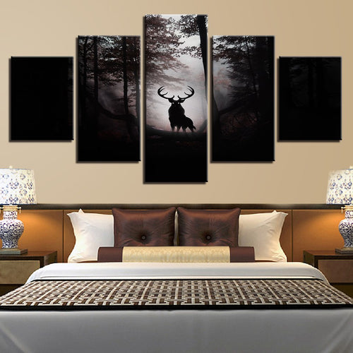 Deer In Dark Forest 5 Piece HD Multi Panel Canvas Wall Art Frame