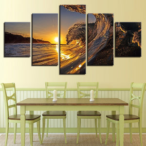 Sunset Sea Wave 5 Piece HD Multi Panel Canvas Wall Art Frame