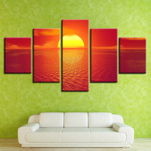 Sunset Seaview 5 Piece HD Multi Panel Canvas Wall Art Frame