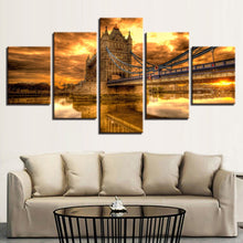 Bridge Sunset Glow 5 Piece HD Multi Panel Canvas Wall Art Frame