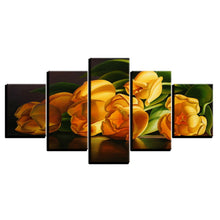 Yellow Tulips 5 Piece HD Multi Panel Canvas Wall Art Frame