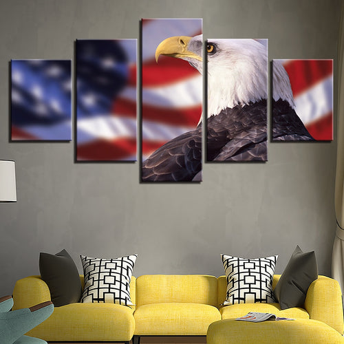 Bald Eagle 5 Piece HD Multi Panel Canvas Wall Art Frame