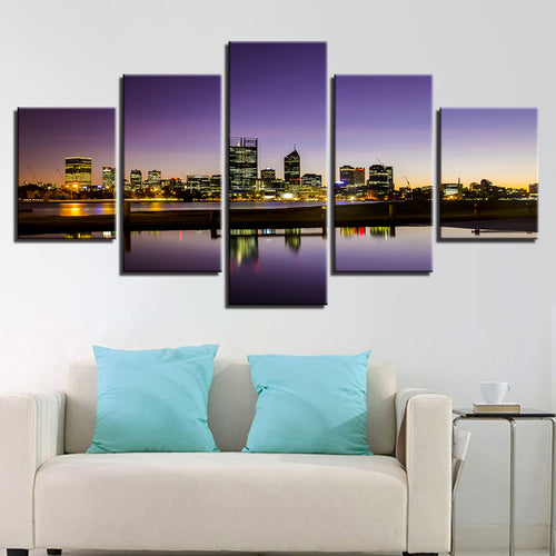 Seaside City 5 Piece HD Multi Panel Canvas Wall Art Frame