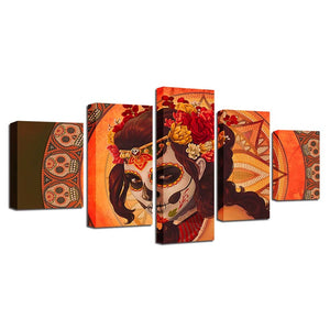 Day of the Dead 5 Piece HD Multi Panel Canvas Wall Art Frame
