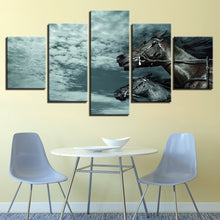 Blue Sky Horse 5 Piece HD Multi Panel Canvas Wall Art Frame