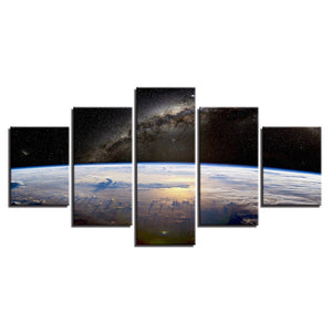 Space Planet Horizon 5 Piece HD Multi Panel Canvas Wall Art Frame