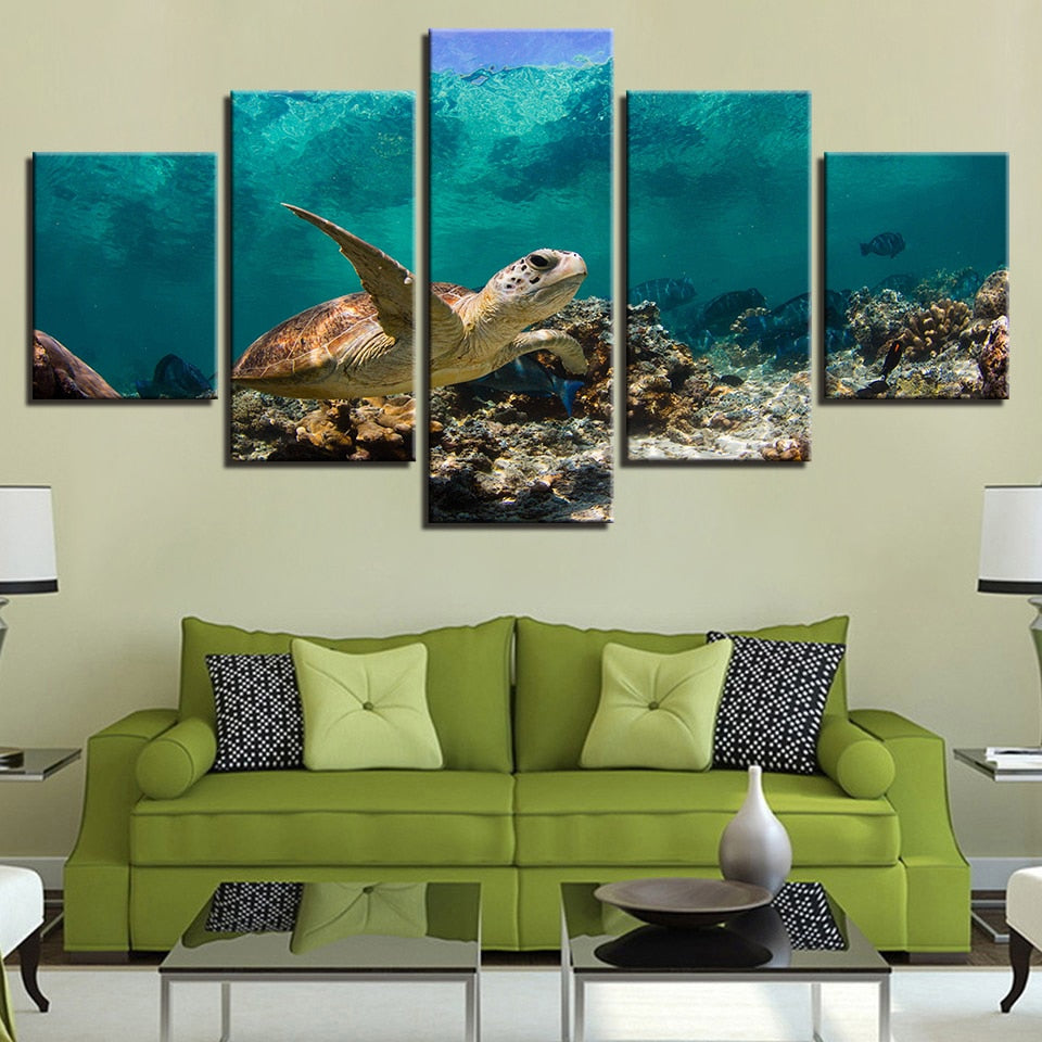 Deep Sea Turtles 5 Piece HD Multi Panel Canvas Wall Art Frame