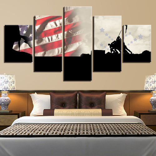 Military American Flag 5 Piece HD Multi Panel Canvas Wall Art Frame