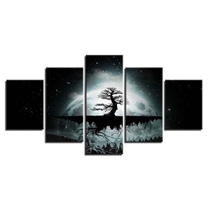 Full Moon Tree Starry Night 5 Piece HD Multi Panel Canvas Wall Art Frame