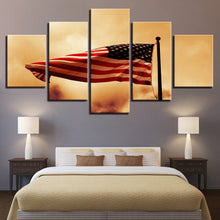 Retro American Flag 5 Piece HD Multi Panel Canvas Wall Art Frame