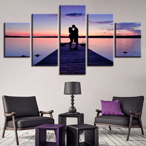 Lovers On The Bridge 5 Piece HD Multi Panel Canvas Wall Art Frame