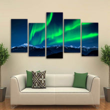 Aurora Night Lights 5 Piece HD Multi Panel Canvas Wall Art Frame