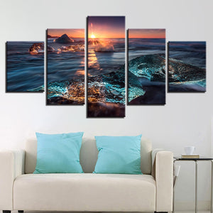 Sunrise Icing 5 Piece HD Multi Panel Canvas Wall Art Frame