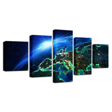 Blue Earth Space 5 Piece HD Multi Panel Canvas Wall Art Frame