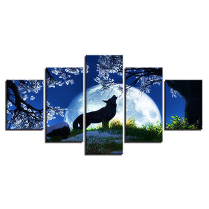 Midnight Wolf Howl 5 Piece HD Multi Panel Canvas Wall Art Frame