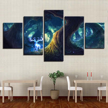 Tree Deer Illusion 5 Piece HD Multi Panel Canvas Wall Art Frame