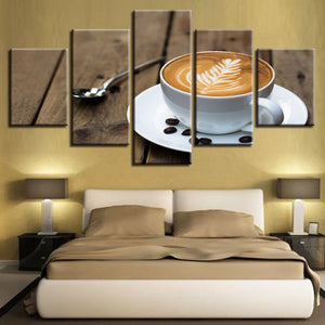 Coffee Art Painting 5 Piece HD Multi Panel Canvas Wall Art Frame