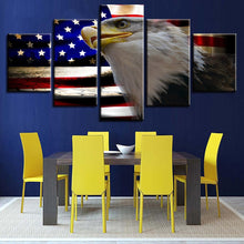 American Flag And Eagle 5 Piece HD Multi Panel Canvas Wall Art Frame