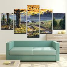 Deer In Forest Natural 5 Piece HD Multi Panel Canvas Wall Art Frame