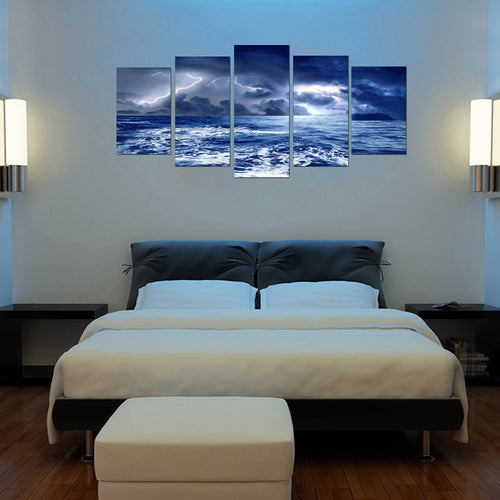 Seaside Lightning 5 Piece HD Multi Panel Canvas Wall Art Frame