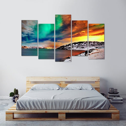 Abstract Mountains Scenery  5 Piece HD Multi Panel Canvas Wall Art Frame