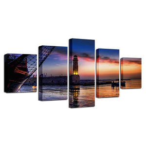 Light House Near The Sea 5 Piece HD Multi Panel Canvas Wall Art Frame