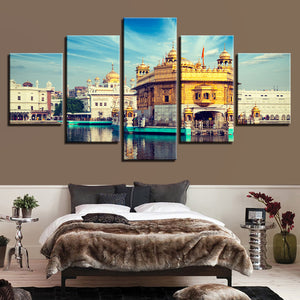 Golden Temple 5 Piece HD Multi Panel Canvas Wall Art Frame