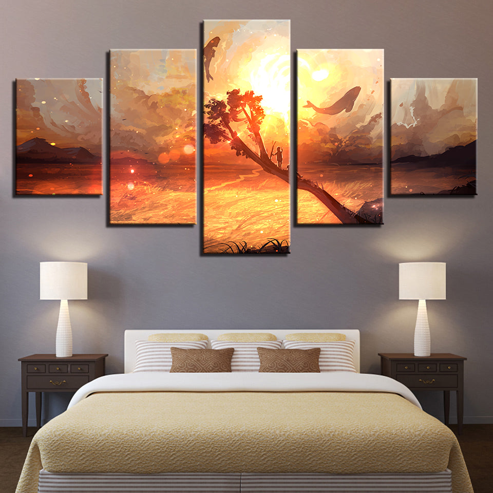 Dolphin & Whale 5 Piece HD Multi Panel Canvas Wall Art Frame
