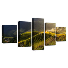 Terrace Rural Green 5 Piece HD Multi Panel Canvas Wall Art Frame