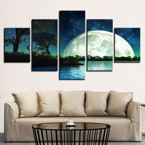Giant Moon Rising 5 Piece HD Multi Panel Canvas Wall Art Frame