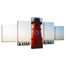 Red Lighthouse 5 Piece HD Multi Panel Canvas Wall Art Frame