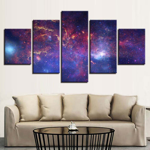 Red Nebula Space 5 Piece HD Multi Panel Canvas Wall Art Frame