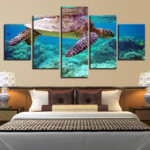 Blue Sea Turtle 5 Piece HD Multi Panel Canvas Wall Art Frame