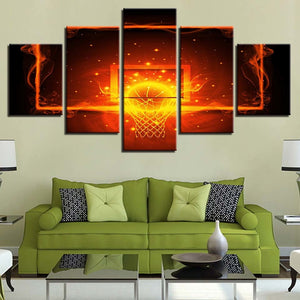 Fire And Ball Hoop Basketball 5 Piece HD Multi Panel Canvas Wall Art Frame