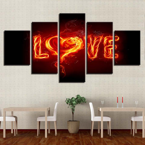 Fire Love 5 Piece HD Multi Panel Canvas Wall Art Frame