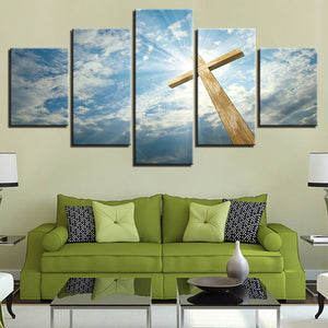 Blue Sky Jesus Cross 5 Piece HD Multi Panel Canvas Wall Art Frame