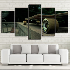 Long Skateboard 5 Piece HD Multi Panel Canvas Wall Art Frame