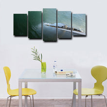 Wave And City 5 Piece HD Multi Panel Canvas Wall Art Frame
