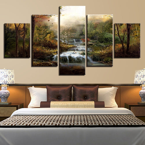 Forest Waterfalls Streams 5 Piece HD Multi Panel Canvas Wall Art Frame