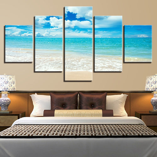 Blue Sea Waves on Beach 5 Piece HD Multi Panel Canvas Wall Art Frame