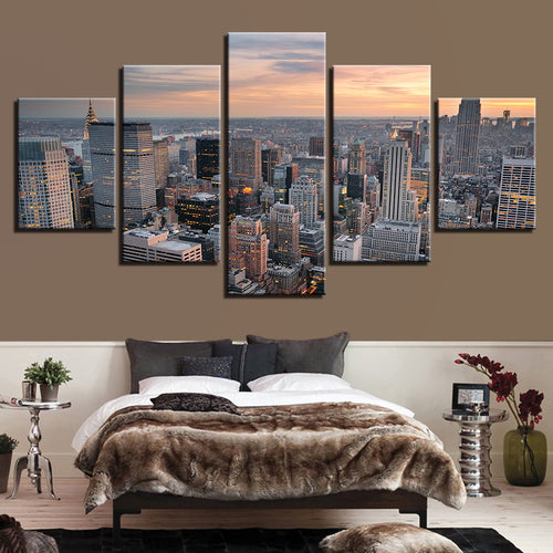Dusk Cityscape 5 Piece HD Multi Panel Canvas Wall Art Frame