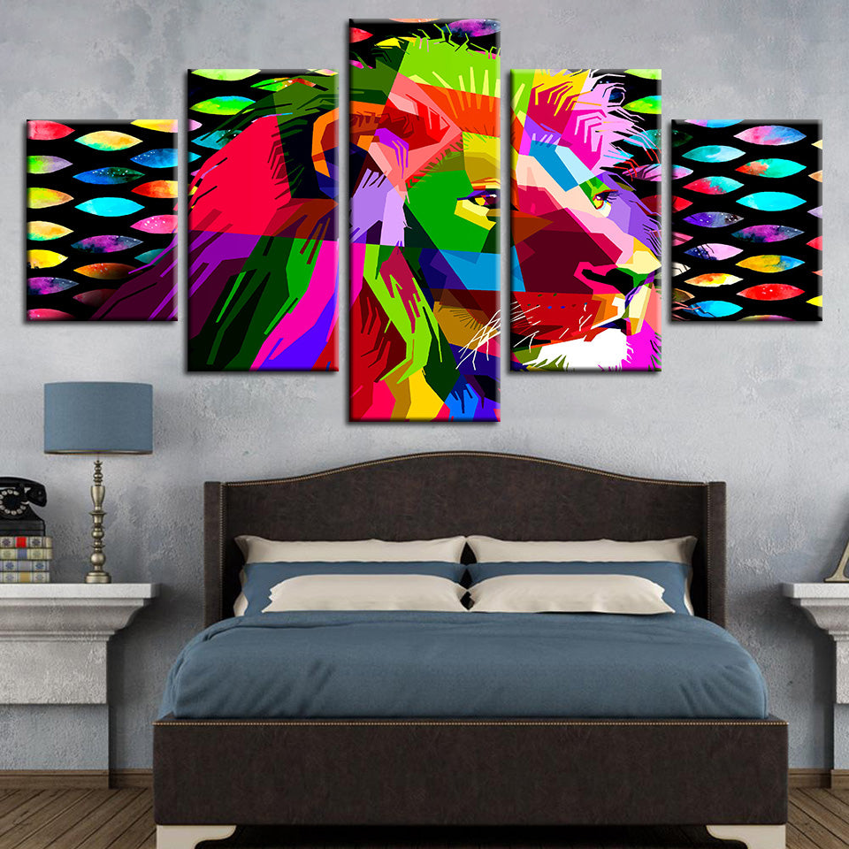 Rainbow Lion 5 Piece HD Multi Panel Canvas Wall Art Frame