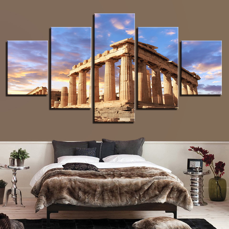 Acropolis of Athens 5 Piece HD Multi Panel Canvas Wall Art Frame
