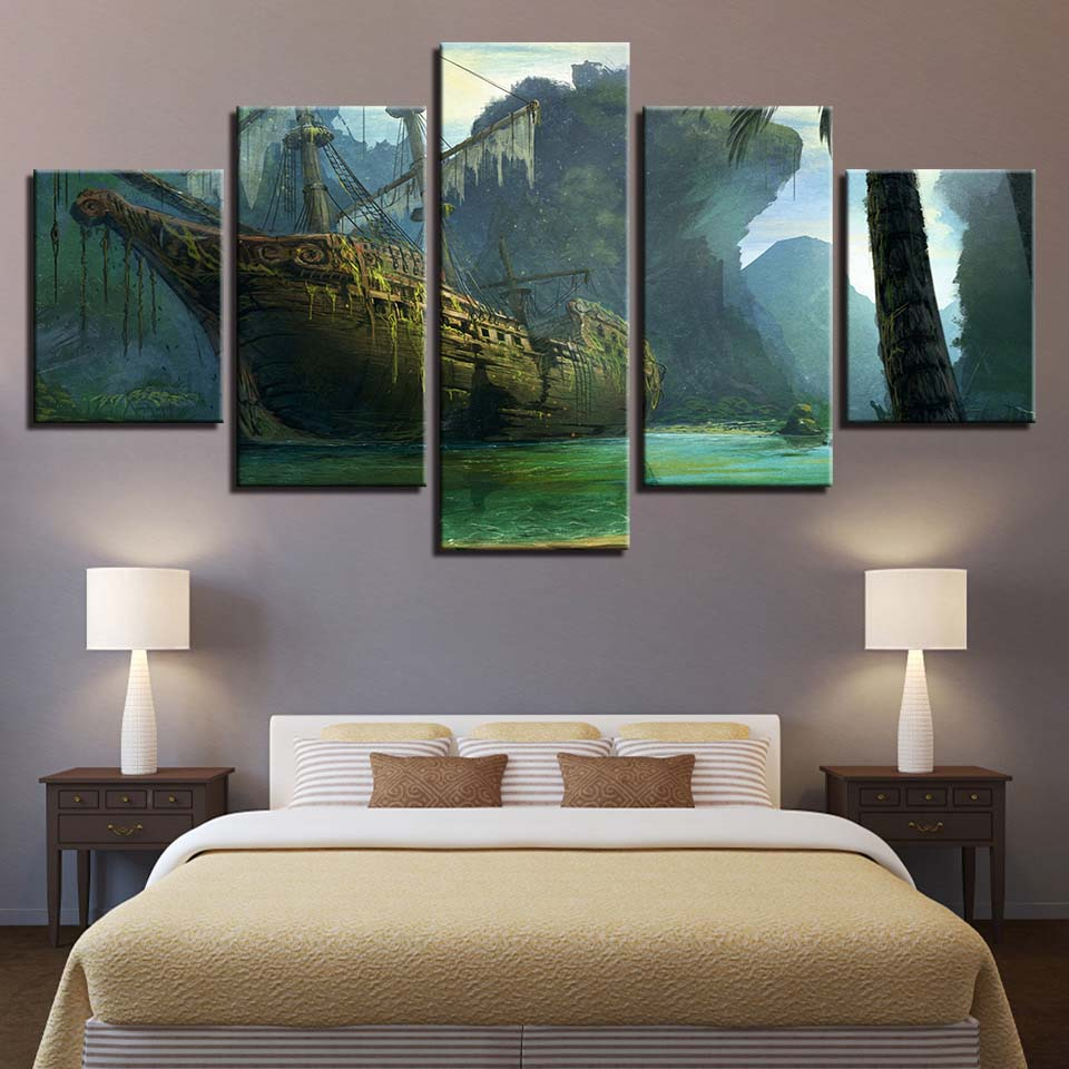 Dilapidated Ship 5 Piece HD Multi Panel Canvas Wall Art Frame
