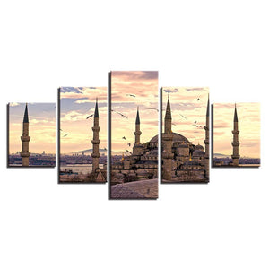 Ancient Palace At Dusk 5 Piece HD Multi Panel Canvas Wall Art Frame