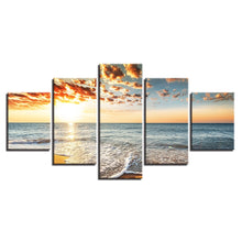 Sea And Sunset 5 Piece HD Multi Panel Canvas Wall Art Frame