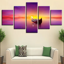 Sunset Ship 5 Piece HD Multi Panel Canvas Wall Art Frame